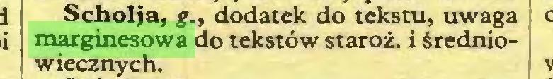 (...) Scholja, g., dodatek do tekstu, uwaga marginesowa do tekstów staroż. i średniowiecznych...