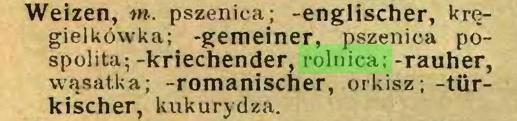 (...) Weizen, m. pszenica; -englischer, kręgielkówka; -gemeiner, pszenica pospolita;-kriechender, rolnica; -rauher, wąsatka; -romanischer, orkisz; -türkischer, kukurydza...