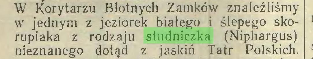 (...) W Korytarzu Błotnych Zamków znaleźliśmy w jednym z jeziorek białego i ślepego skorupiaka z rodzaju studniczka (Niphargus) nieznanego dotąd z jaskiń Tatr Polskich...