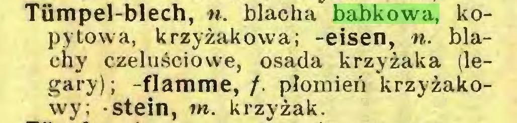 (...) Tümpel-blech, ». blacha babkowa, kopytowa, krzyżakowa; -eisen, n. blachy czeluściowe, osada krzyżaka (legary); -flamme, /. płomień krzyżakowy; -stein, tn. krzyżak...