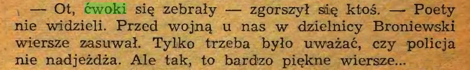 (...) — Ot, ćwoki się zebrały — zgorszył się ktoś. — Poety nie widzieli. Przed wojną u nas w dzielnicy Broniewski wiersze zasuwał. Tylko trzeba było uważać, czy policja nie nadjeżdża. Ale tak, to bardzo piękne wiersze...