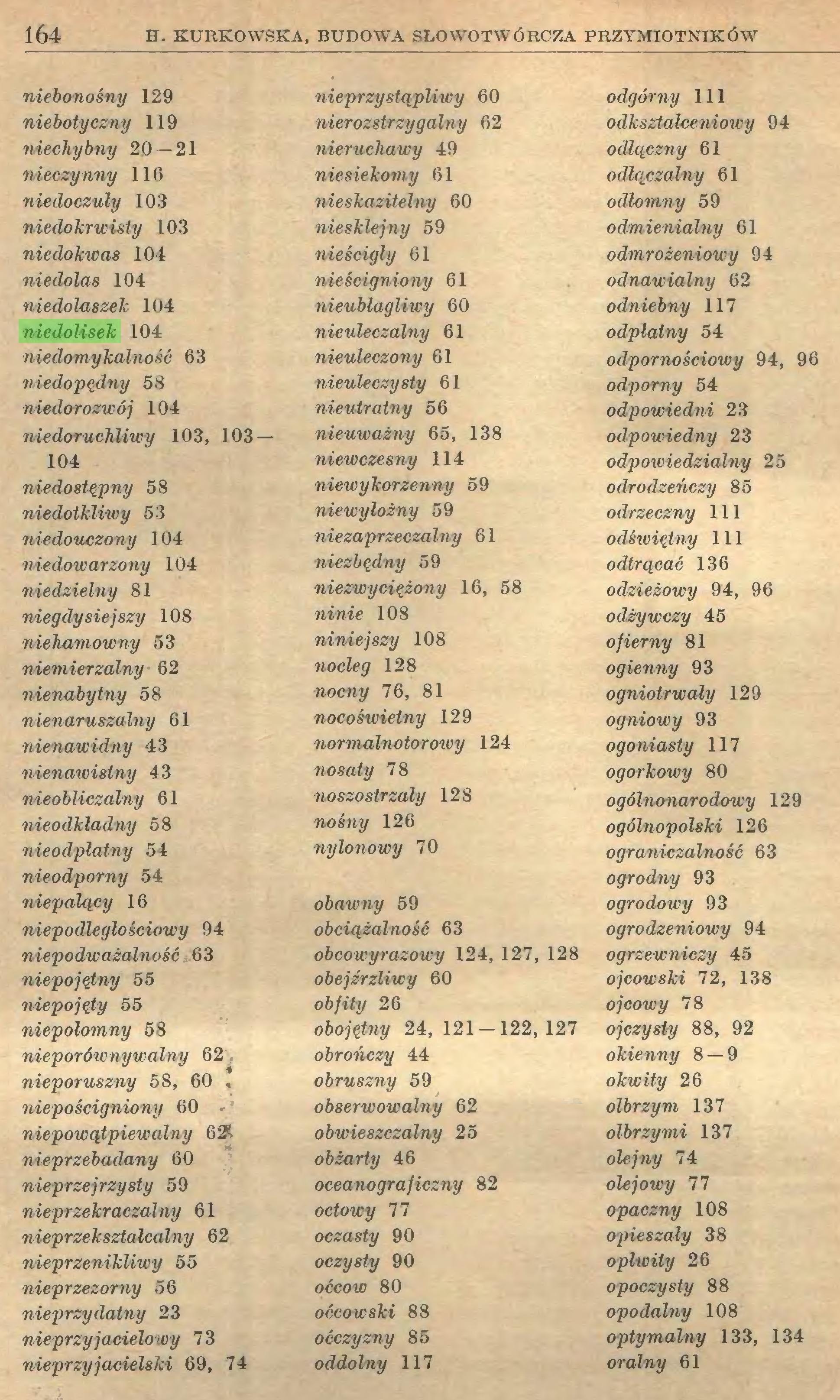 (...) 164 EL KURKOWSKA, BUDOWA SŁOWOTWÓRCZA PRZYMIOTNIKÓW niebonośny 129 niebotyczny 119 niechybny 20 — 21 nieczynny 116 niedoczuly 10:1 niedokrwisty 103 niedokwas 104 niedolas 104 niedolaszek 104 niedolisek 104 niedomykalność 63 niedopędny 58 niedorozwój 104 niedoruchliwy 103, 103 — 104 niedostępny 58 niedotkliwy 53 niedouczony 104 niedowarzony 104 niedzielny 81 niegdysiejszy 108 niehamowny 53 niemierzalny 62 nienabytny 58 nienaruszalny 61 nienawidny 43 nienawistny 43 nieobliczalny 61 nieodkladny 58 nieodpłatny 54 nieodporny 54 niepalący 16 niepodległościowy 94 niepodważalność 63 niepojętny 55 niepojęty 55 niepołomny 58 nieporównywalny 62 nieporuszny 58, 60 , niepościgniony 60 niepowątpiewalny 621, nieprzebadany 60 nieprzejrzysty 59 nieprzekraczalny 61 nieprzeksztalcalny 62 nieprzenikliwy 55 nieprzezorny 56 nieprzydatny 23 nie przy jacielowy 73 nieprzyjacielski 69, 74 nieprzystąpliwy 60 nierozstrzygalny 62 nieruchawy 49 niesiekomy 61 nieskazitelny 60 niesklejny 59 nieścigly 61 nieścigniony 61 nieublagliwy 60 nieuleczalny 61 nieuleczony 61 nieuleczysty 61 nieutratny 56 nieuważny 65, 138 niewczesny 114 niewykorzenny 59 niewyłożny 59 niezaprzeczalny 61 niezbędny 59 niezwyciężony 16, 58 niwie 108 niniejszy 108 nocleg 128 nocny 76, 81 nocoświetny 129 normalnotorowy 124 nosaty 78 noszostrzały 128 nośny 126 nylonowy 70 obawny 59 obciążalność 63 obcowyrazoicy 124, 127, 128 obejźrzliwy 60 obfity 26 obojętny 24, 121 — 122,127 obrończy 44 obruszny 59 obserwowalny 62 obwieszczalny 25 obżarty 46 oceanograficzny 82 octowy 77 oczasty 90 oczysty 90 oćcow 80 oćcowski 88 oćczyzny 85 oddolny 117 odgórny 111 odkształceniowy 94 odlączny 61 odłączalny 61 odlomny 59 odmienialny 61 odmrożeniowy 94 odnawialny 62 odniebny 117 odpłatny 54 odpornościowy 94, 96 odporny 54 odpowiedni 23 odpowiedny 23 odpowiedzialny 25 odrodzericzy 85 odrzeczny 111 odświętny 111 odtrącać 136 odzieżowy 94, 96 odżywczy 45 ofierny 81 ogienny 93 ogniotrwały 129 ogniowy 93 ogoniasty 117 ogorkowy 80 ogólnonarodowy 129
