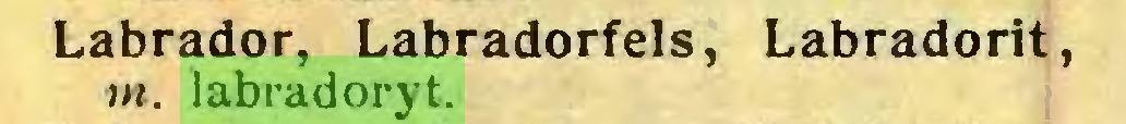 (...) Labrador, Labradorfels, Labradorit, in. labradoryt...