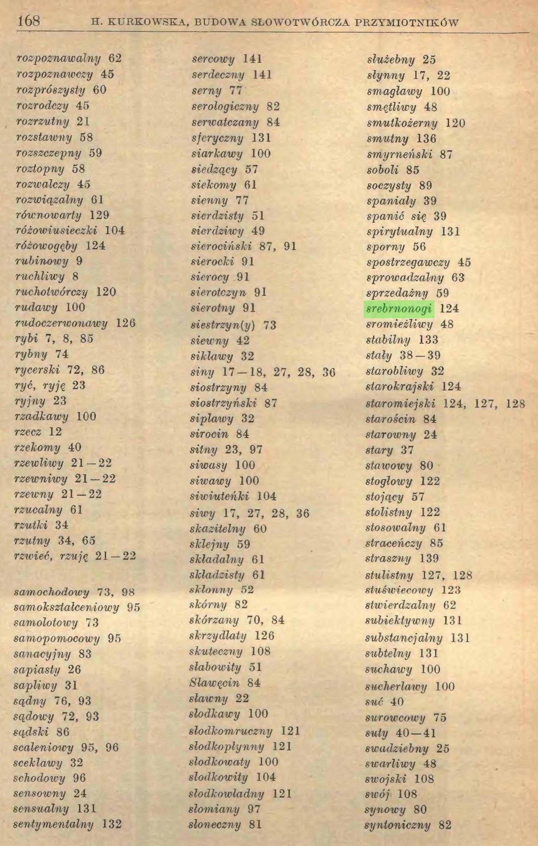(...) 168 H. KURKOWSKA, BUDOWA SŁOWOTWÓRCZA PRZYMIOTNIKÓW rozpoznawalny 62 rozpoznawczy 45 rozprószysty 60 rozrodczy 45 rozrzutny 21 rozstawny 58 rozszczepny 59 roztopny 58 rozwalczy 45 rozwiązalny 61 równowarty 129 różowiusieczki 104 różowo gęby 124 rubinowy 9 ruchliwy 8 ruchotwórczy 120 rudawy 100 rudoczerwonawy 126 rybi 7, 8, 85 rybny 74 rycerski 72, 86 ryć, ryję 23 ryjny 23 rzadkawy 100 rzecz 12 rzekomy 40 rzewliwy 21 — 22 rzewniwy 21 — 22 rzewny 21 — 22 rzucalny 61 rzutki 34 rzutny 34, 65 rzwieć, rzuję 21 — 22 samochodowy 73, 98 samokształceniowy 95 samolotowy 73 samopomocowy 95 sanacyjny 83 sapiasty 26 sapliwy 31 sądny 76, 93 sądowy 72, 93 sądski 86 scaleniowy 95, 96 sceklawy 32 schodowy 96 sensowny 24 sensualny 131 sentymentalny 132 sercowy 141 serdeczny 141 serny 77 serologiczny 82 serwatczany 84 sjeryczny 131 siarkawy 100 siedzący 57 siekomy 61 sienny 77 sierdzi8ty 51 sierdziwy 49 sierociński 87, 91 Sierocki 91 sierocy 91 sierotczyn 91 sierotny 91 siestrzyn{y) 73 siewny 42 siklawy 32 siny 17 — 18, 27, 28, 36 siostrzyny 84 sio8trzyński 87 siplawy 32 sirocin 84 sitny 23, 97 siwasy 100 siwawy 100 siwiuteńki 104 siwy 17, 27, 28, 36 skazitelny 60 siciejny 59 składalny 61 skladzisty 61 skłonny 52 skórny 82 skórzany 70, 84 skrzydlaty 126 skuteczny 108 słabowity 51 Sławęcin 84 sławny 22 słód kawy 100 slodkomruczny 121 slodkoplynny 121 slodkowaty 100 slodkowity 104 slodkowladny 121 słomiany 97 słoneczny 81 służebny 25 słynny 17, 22 smagławy 100 smętliwy 48 smutkożerny 120 smutny 136 smyrneński 87 soboli 85 soczysty 89 spaniały 39 spanie się 39 spirytualny 131 sporny 56 spostrzegawczy 45 sprowadzalny 63 sprzedażny 59 srebrnonogi 124 sromieżliwy 48 stabilny 133 stały 38 — 39 starobliwy 32 starokrajski 124 staromiejski 124, 127, 128 starościn 84 starowny 24 stary 37 stawowy 80 stoglowy 122 stojący 57 8tolistny 122 stosowalny 61 straceńczy 85 straszny 139 stulistny 127, 128 stuświecowy 123 stwierdzalny 62 subiektywny 131 substancjalny 131 subtelny 131 suchawy 100 sucher