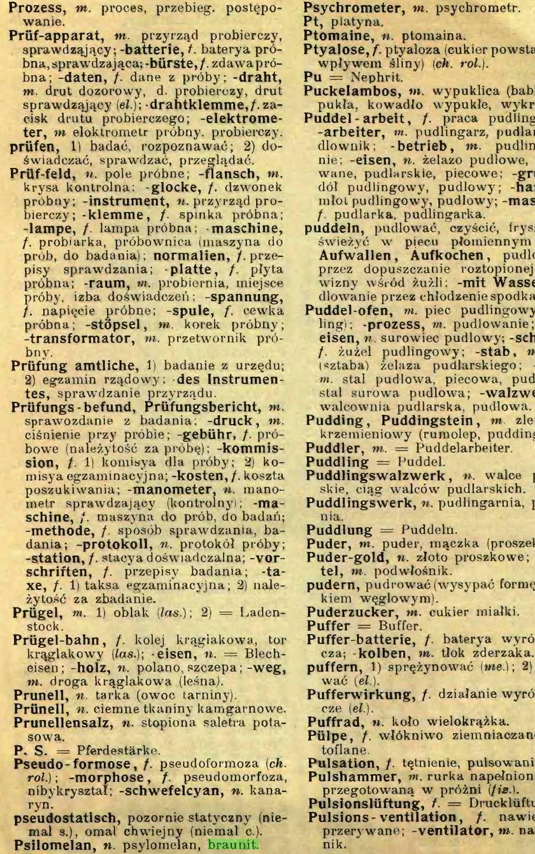(...) Psilomelan, n. psylomelan, braunit. Psychrometer, tn. psychrometr...