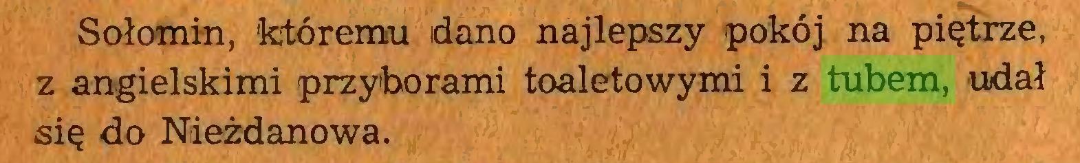 (...) Sołomin, któremu dano najlepszy pokój na piętrze, z angielskimi przyborami toaletowymi i z tubem, udał się do Niieżdanowa...