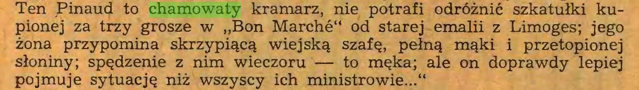 """(...) Ten Pinaud to chamowaty kramarz, nie potrafi odróżnić szkatułki kupionej za trzy grosze w """"Bon Marché"""" od starej emalii z Limoges; jego żona przypomina skrzypiącą wiejską szafę, pełną mąki i przetopionej słoniny; spędzenie z nim wieczoru — to męka; ale on doprawdy lepiej pojmuje sytuację niż wszyscy ich ministrowie...""""..."""