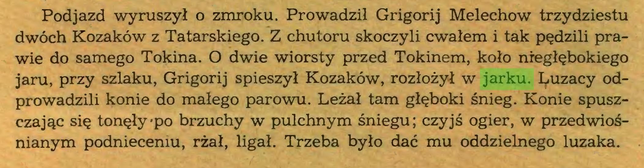 (...) Podjazd wyruszył o zmroku. Prowadził Grigorij Melechow trzydziestu dwóch Kozaków z Tatarskiego. Z chutoru skoczyli cwałem i tak pędzili prawie do samego Tokina. O dwie wiorsty przed Tokinem, koło nregłębokiego jaru, przy szlaku, Grigorij spieszył Kozaków, rozłożył w jarku. I^uzacy odprowadzili konie do małego parowu. Leżał tam głęboki śnieg. Konie spuszczając się tonęły po brzuchy w pulchnym śniegu; czyjś ogier, w przedwiośnianym podnieceniu, rżał, ligał. Trzeba było dać mu oddzielnego luzaka...