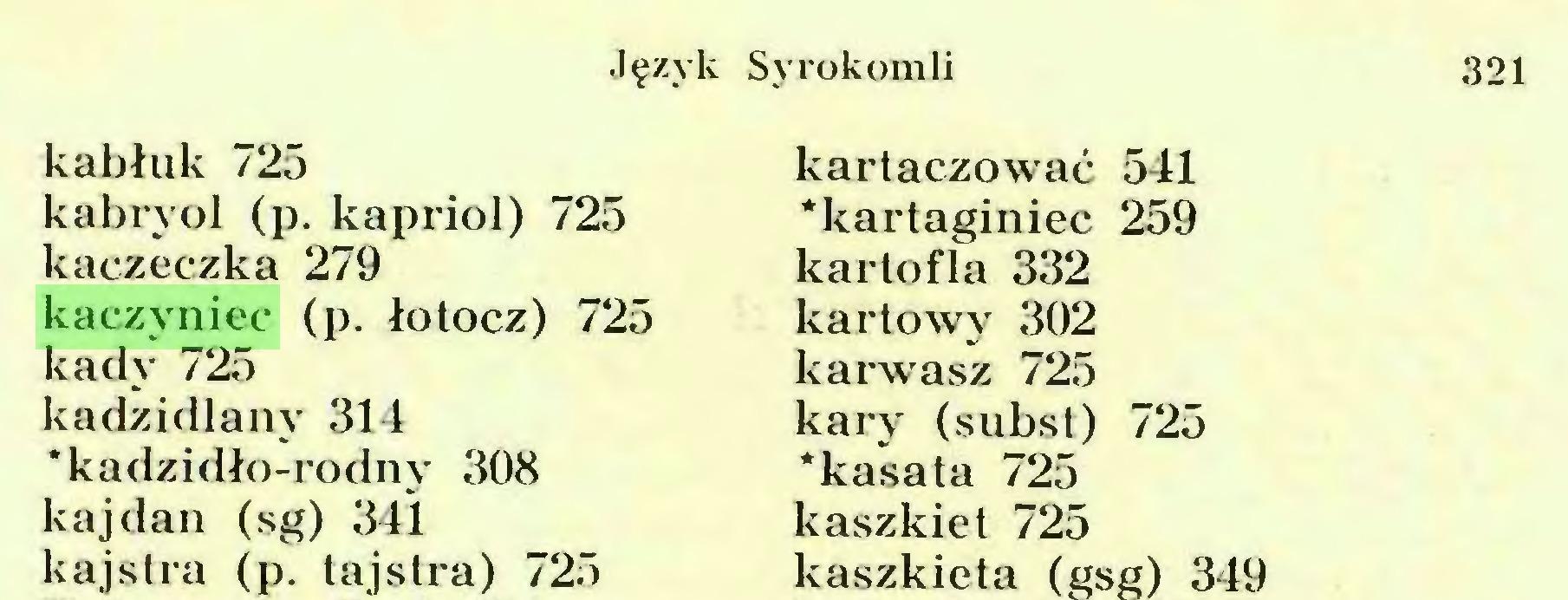 (...) Język Syrokomli 321 kabłuk 725 kabryol (p. kapriol) 725 kaczeczka 279 kaczyniec (p. łotocz) 725 kady 725 kadzidlany 314 'kadzidło-rodny 308 kajdan (sg) 341 kajstra (p. tajstra) 725...