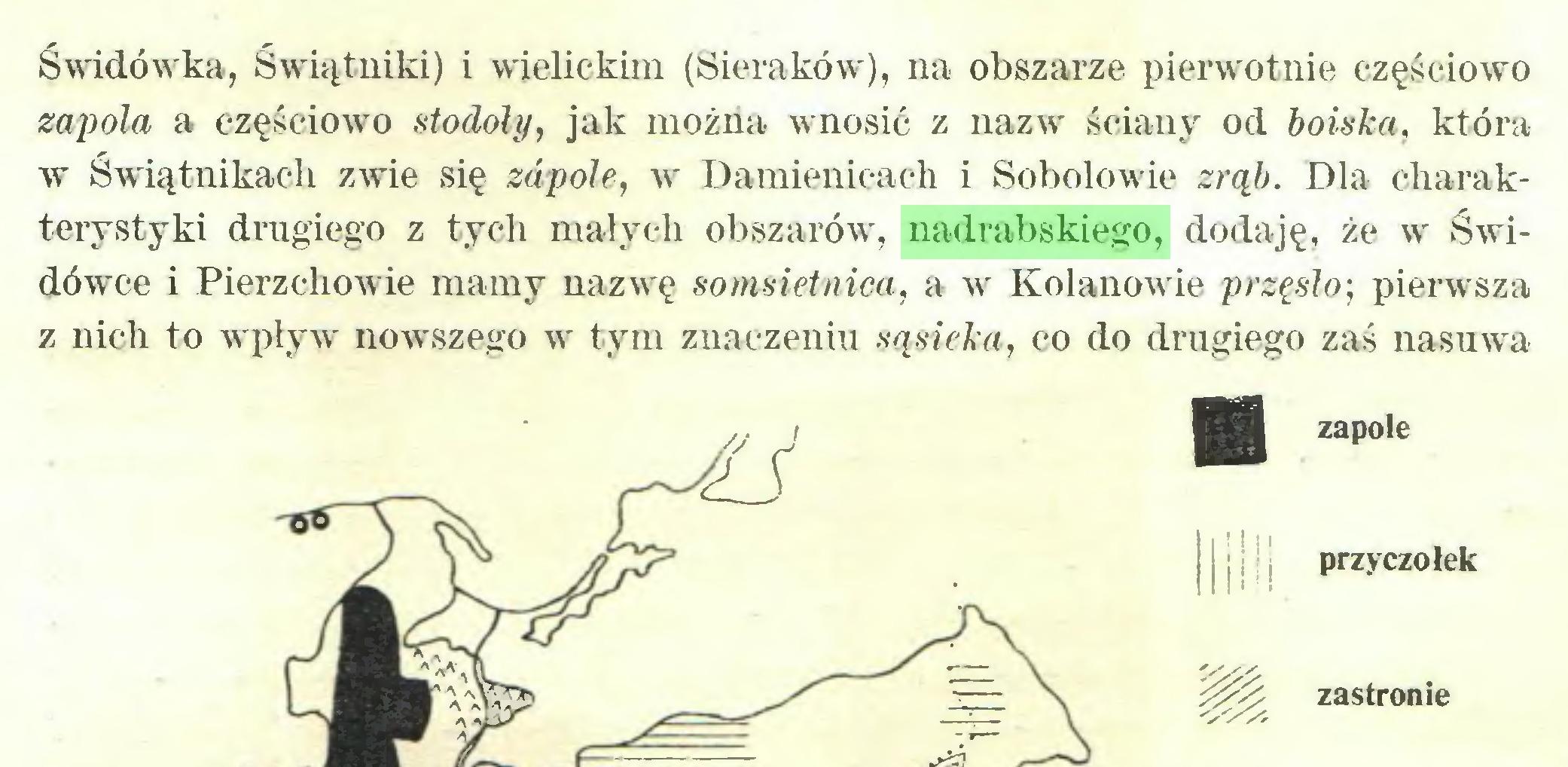 (...) Świdówka, Świątniki) i wielickim (Sieraków), na obszarze pierwotnie częściowo zapola a częściowo stodoły, jak można wnosić z nazw' ściany od boiska, która w Świątnikach zwie się zapołe, w Damienicach i Sobolowie zrąb. Dla charakterystyki drugiego z tych małych obszarów', nadrabskiego, dodaję, że w Świdów'ce i Pierzchowie mamy nazwę somsietnica, a w Kolanowie przęsło; pierwsza z nich to w pływr nowszego w tym znaczeniu sąsieka, co do drugiego zaś nasuw a ■ zapole mm. przyczółek m zastronie...