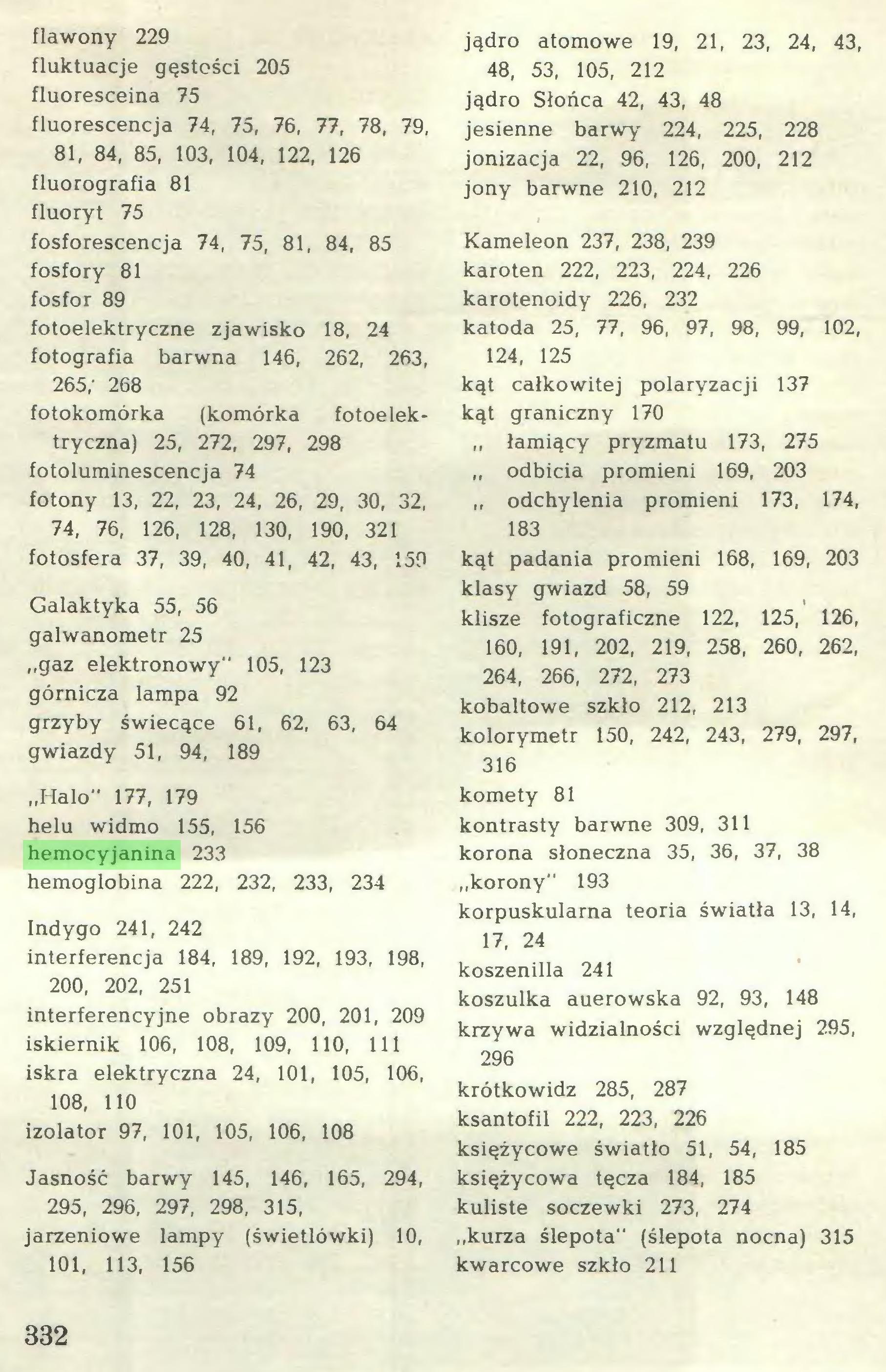 """(...) flawony 229 fluktuacje gęstości 205 fluoresceina 75 fluorescencja 74, 75, 76, 77, 78, 79, 81, 84, 85, 103, 104, 122, 126 fluorografia 81 fluoryt 75 fosforescencja 74, 75, 81, 84, 85 fosfory 81 fosfor 89 fotoelektryczne zjawisko 18, 24 fotografia barwna 146, 262, 263, 265; 268 fotokomórka (komórka fotoelektryczna) 25, 272, 297, 298 fotoluminescencja 74 fotony 13, 22, 23, 24, 26, 29, 30, 32, 74, 76, 126, 128, 130, 190, 321 fotosfera 37, 39, 40, 41, 42, 43, 159 Galaktyka 55, 56 galwanometr 25 """"gaz elektronowy"""" 105, 123 górnicza lampa 92 grzyby świecące 61, 62, 63, 64 gwiazdy 51, 94, 189 """"Halo"""" 177, 179 helu widmo 155, 156 hemocyjanina 233 hemoglobina 222, 232, 233, 234 Indygo 241, 242 interferencja 184, 189, 192, 193, 198, 200, 202, 251 interferencyjne obrazy 200, 201, 209 iskiernik 106, 108, 109, 110, 111 iskra elektryczna 24, 101, 105, 106, 108, 110 izolator 97, 101, 105, 106, 108 Jasność barwy 145, 146, 165, 294, 295, 296, 297, 298, 315, jarzeniowe lampy (świetlówki) 10, 101, 113, 156 jądro atomowe 19, 21, 23, 24, 43, 48, 53, 105, 212 jądro Słońca 42, 43, 48 jesienne barwy 224, 225, 228 jonizacja 22, 96, 126, 200, 212 jony barwne 210, 212 Kameleon 237, 238, 239 karoten 222, 223, 224, 226 karotenoidy 226, 232 katoda 25, 77, 96, 97, 98, 99, 102, 124, 125 kąt całkowitej polaryzacji 137 kąt graniczny 170 """" łamiący pryzmatu 173, 275 """" odbicia promieni 169, 203 """" odchylenia promieni 173, 174, 183 kąt padania promieni 168, 169, 203 klasy gwiazd 58, 59 klisze fotograficzne 122, 125, 126, 160, 191, 202, 219, 258, 260, 262, 264, 266, 272, 273 kobaltowe szkło 212, 213 kolorymetr 150, 242, 243, 279, 297, 316 komety 81 kontrasty barwne 309, 311 korona słoneczna 35, 36, 37, 38 """"korony"""" 193 korpuskularna teoria światła 13, 14, 17, 24 koszenilla 241 koszulka auerowska 92, 93, 148 krzywa widzialności względnej 295, 296 krótkowidz 285, 287 ksantofil 222, 223, 226 księżycowe światło 51, 54, 185 księżycowa tęcza 184, 185 kuliste soczewki 273, 274 """"kurza ślepota"""" (ślepota nocna) 3"""