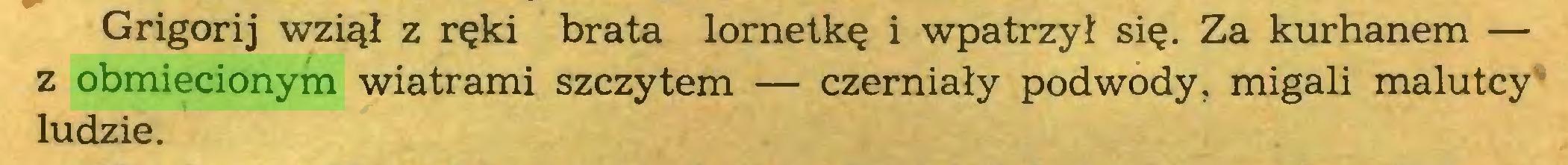 (...) Grigorij wziął z ręki brata lornetkę i wpatrzył się. Za kurhanem — z obmiecionym wiatrami szczytem — czerniały podwody, migali malutcy ludzie...