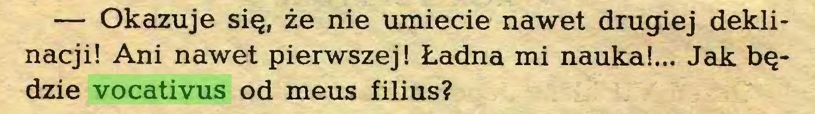 (...) — Okazuje się, że nie umiecie nawet drugiej deklinacji! Ani nawet pierwszej! Ładna mi nauka!... Jak będzie vocativus od meus filius?...