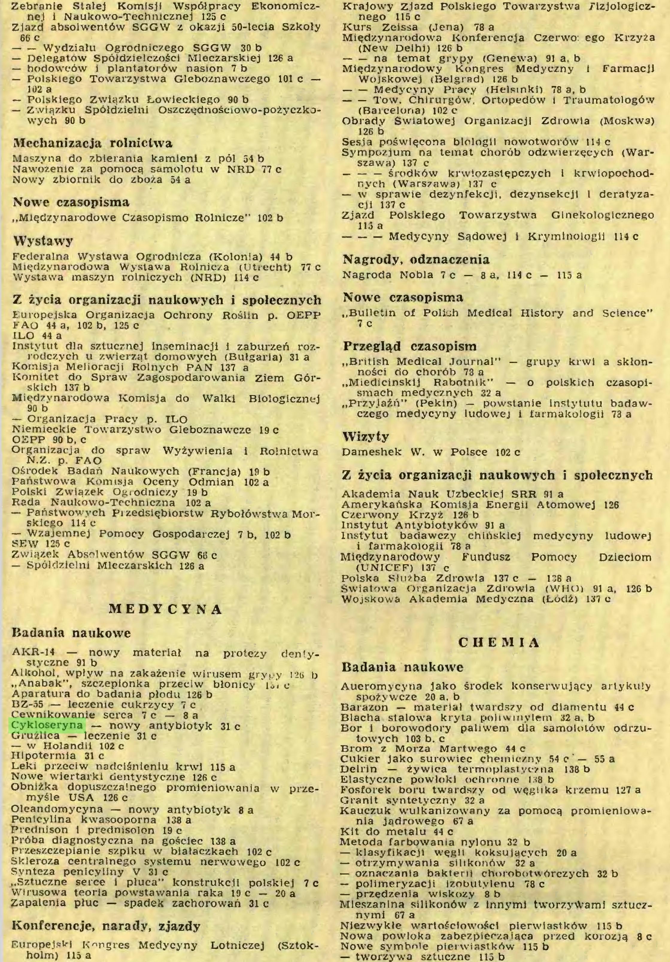 """(...) N.Z. p. FAO Ośrodek Badań Naukowych (Francja) 19 b Państwowa Komisja Oceny Odmian 102 a Polski Związek Ogrodniczy 19 b Rada Naukowo-Techniczna 102 a — Państwowych Pizedsiębiorstw Rybołówstwa Morskiego 114 c — Wzajemnej Pomocy Gospodarczej 7 b, 102 b SEW 125 c Związek Absolwentów SGGW 66 c — Spółdzielni Mleczarskich 126 a MEDYCYNA Badania naukowe AKR-14 — nowy materiał na protezy deniystyczne 91 b Alkohol, wpływ na zakażenie wirusem grypy izb b """"Anabak"""", szczepionka przeciw błonicy i¿i c Aparatura do badania płodu 126 b BZ-55 — leczenie cukrzycy 7 c Cewnikowanie serca 7 c — 8 a Cykloseryna — nowy antybiotyk 31 c Gruźlica — leczenie 31 c — w Holandii 102 c Hipotermia 31 c Leki przeciw nadciśnieniu krwi 115 a Nowe wiertarki dentystyczne 126 c Obniżka dopuszczalnego promieniowania w przemyśle USA 126 c Oleandomycyna — nowy antybiotyk 8 a Penicylina kwasooporna 138 a Prednison i prednisolon 19 c Próba diagnostyczna na gościec 138 a Przeszczepianie szpiku w białaczkach 102 c Skleroza centralnego systemu nerwowego 102 c Synteza penicyliny V 31 c """"Sztuczne serce i płuca"""" konstrukcji polskiej 7 c Wirusowa teoria powstawania raka 19 c — 20 a Zapalenia płuc — spadek zachorowań 31 c Konferencje, narady, zjazdy Europejski Kongres Medycyny Lotniczej (Sztokholm) 115 a Krajowy Zjazd Polskiego Towarzystwa Fizjologicznego 115 c Kurs Zeissa (Jena) 78 a Międzynarodowa Konferencja Czerwo: ego Krzyża (New Delhi) 126 b na temat grypy (Genewa) 91 a. b..."""