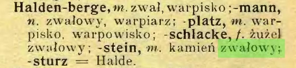 (...) Halden-berge, m. zwał, warpisko ;-mann, n. zwałowy, warpiarz; -platz, nt. warpisko. warpowisko; -schlacke,/. żużel zwałowy; -stein, «/, kamień zwałowy; -stürz = Halde...