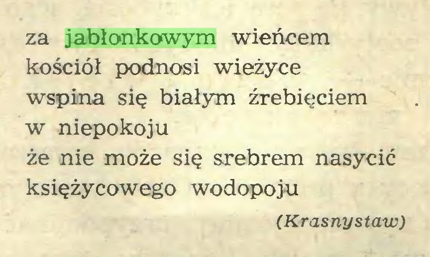 (...) za jabłonkowym wieńcem kościół podnosi wieżyce wspina się białym źrebięciem w niepokoju że nie może się srebrem nasycić księżycowego wodopoju (Krasnystaw)...