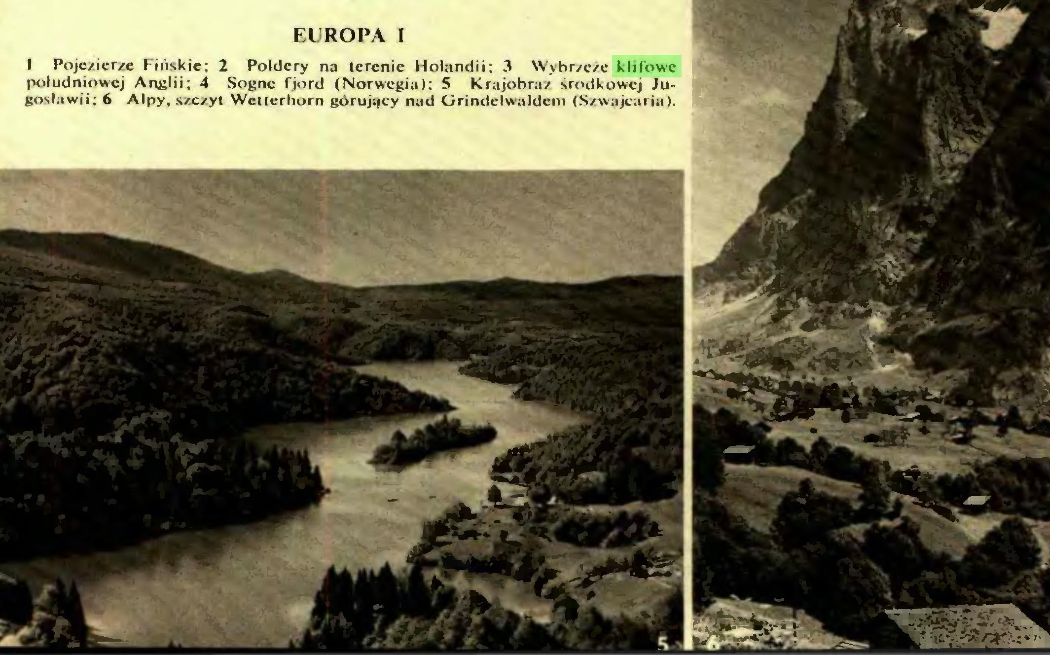 (...) WgM EUROPA I I Pojezierze Fińskie: 2 Poldery na terenie Holandii: 3 Wybrzeże klifowe południowej Anglii; 4 Sognc fjord (Norwegia); 5 Krajobraz środkowej Jugosławii; 6 Alpy, szczyt Wciterhorn górujący nad Grindclwaldcm (Szwajcaria). EUROPA II...