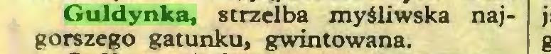 (...) Guldynka, strzelba myśliwska najgorszego gatunku, gwintowana...