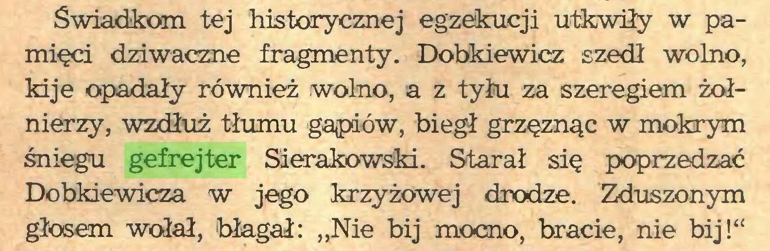 """(...) Świadkom tej historycznej egzekucji utkwiły w pamięci dziwaczne fragmenty. Dobkiewicz szedł wolno, kije opadały również wolno, a z tyłu za szeregiem żołnierzy, wzdłuż tłumu gapiów, biegł grzęznąc w mokrym śniegu gefrejter Sierakowski. Starał się poprzedzać Dobkiewicza w jego krzyżowej drodze. Zduszonym głosem wołał, 'błagał: """"Nie bij mocno, bracie, nie bij!""""..."""