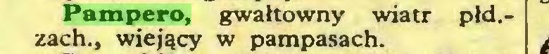 (...) Pampero, gwałtowny wiatr pld.zach., wiejący w pampasach...