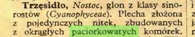 (...) Trzęsidło, Nostoc, glon z klasy sinorostów (Cyanophyceae). Piecha złożona z pojedynczych nitek, zbudowanych z okrągłych paciorkowatych komórek...