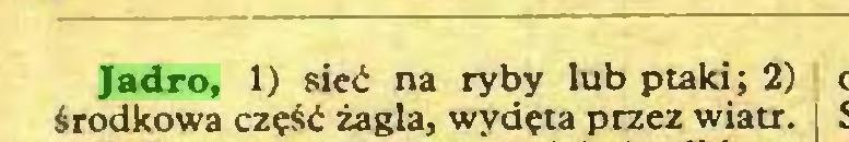 (...) Jadro, 1) sieć na ryby lub ptaki; 2) środkowa część żagla, wydęta przez wiatr...