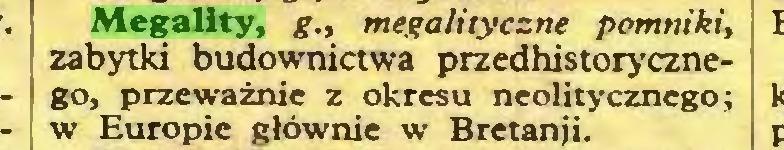 (...) Megality, g., megalityczne pomniki, zabytki budownictwa przedhistorycznego, przeważnie z okresu neolitycznego; w Europie głównie w Bretanji...