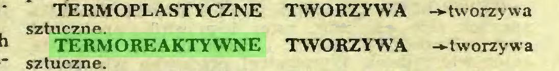 (...) TERMOPLASTYCZNE TWORZYWA -►tworzywa sztuczne TERMOREAKTYWNE TWORZYWA -tworzywa sztuczne...