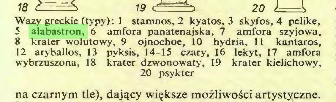 (...) Wazy greckie (typy): 1 stamnos, 2 kyatos, 3 skyfos, 4 pelike, 5 alabastron, 6 amfora panatenajska, 7 amfora szyjowa, 8 krater wolutowy, 9 ojnochoe, 10 hydria, 11 kanlaros, 12 aryballos, 13 pyksis, 14-15 czary, 16 lekyt, 17 amfora wybrzuszona, 18 krater dzwonowaty, 19 krater kielichowy, 20 psykter na czarnym tle), dajqcy wi?ksze mozliwosci artystyczne...