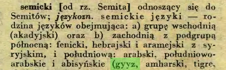 (...) semicki [od rz. Semita] odnoszący się do Semitów; językozn. semickie języki — rodzina języków obejmująca: a) grupę wschodnią (akadyjski) oraz b) zachodnią z podgrupą północną: fenicki, hebrajski i aramejski z syryjskim, i południową: arabski, południowoarabskie i abisyńskie (gyyz, amharski, tigre...