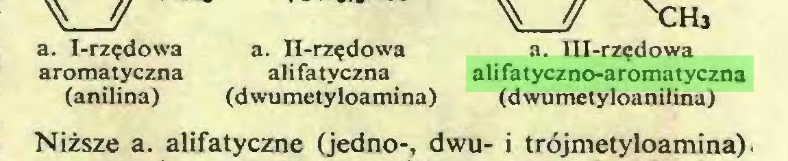 (...) a. I-rzędowa a. II-rzędowa a. Ill-rzędowa aromatyczna alifatyczna alifatyczno-aromatyczna (anilina) (dwumetyloamina) (dwumetyloanilina) Niższe a. alifatyczne (jedno-, dwu- i trójmetyloamina)...