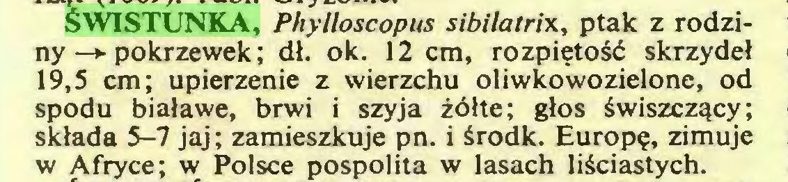(...) ŚWISTUNKA, Phylloscopus sibilatrix, ptak z rodziny—*• pokrzewek; dł. ok. 12 cm, rozpiętość skrzydeł 19,5 cm; upierzenie z wierzchu oliwkowozielone, od spodu białawe, brwi i szyja żółte; głos świszczący; składa 5-7 jaj; zamieszkuje pn. i środk. Europę, zimuje w Afryce; w Polsce pospolita w lasach liściastych...