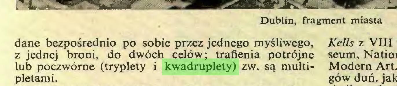 (...) Dublin, fragment miasta dane bezpośrednio po sobie przez jednego myśliwego, z jednej broni, do dwóch celów; trafienia potrójne lub poczwórne (tryplety i kwadruplety) zw. są multipletami...