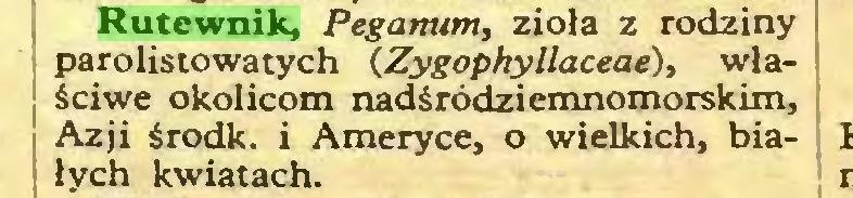 (...) Rutewnik, Peganum, zioła z rodziny parolistowatych (.Zygophyllaceae), właściwe okolicom nadśródziemnomorskim, Azji środk. i Ameryce, o wielkich, białych kwiatach...