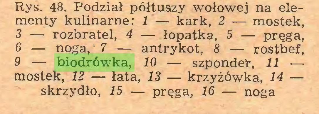 (...) Rys. 48. Podział półtuszy wołowej na elementy kulinarne: 1 — kark, 2 — mostek, 3 — rozbratel, 4 — łopatka, 5 — pręga, 6 — noga, 7 — antrykot, 8 — rostbef, 9 — biodrówka, 10 — szponder, 11 — mostek, 12 — łata, 13 — krzyżówka, 14 — skrzydło, 15 — pręga, 16 — noga...