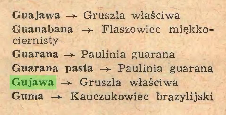(...) Guajawa Gruszla właściwa Guanabana Flaszowiec miękkociernisty Guarana -> Paulinia guarana Guarana pasta Paulinia guarana Gujawa -> Gruszla właściwa Guma Kauczukowiec brazylijski...