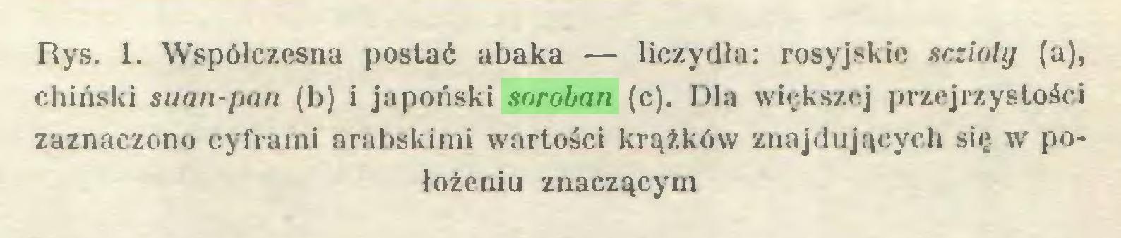 (...) Rys. 1. Współczesna postać abaka — liczydła: rosyjskie sczinly (a), chiński suan-pan (b) i japoński soroban (c). Dla większej przejrzystości zaznaczono cyframi arabskimi wartości krążków znajdujących się w położeniu znaczącym...