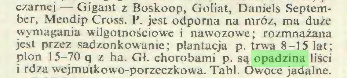 (...) czarnej — Gigant z Boskoop, Goliat, Daniels September, Mendip Cross. P. jest odporna na mróz, ma duże wymagania wilgotnościowe i nawozowe; rozmnażana jest przez sadzonkowanie; plantacja p. trwa 8-15 lat; plon 15-70 q z ha. Gł. chorobami p. są opadzina liści i rdza wejmutkowo-porzeczkowa. Tabl. Owoce jadalne...