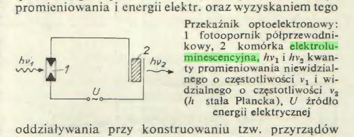 (...) promieniowania i energii elektr. oraz wyzyskaniem tego Przekaźnik optoelektronowy: 1 fotoopornik półprzewodnikowy, 2 komórka elektroluminescencyjna, hvj i Av2 kwanty promieniowania niewidzialnego o częstotliwości i widzialnego o częstotliwości v2 (/i stała Plancka), U źródło energii elektrycznej oddziaływania przy konstruowaniu tzw. przyrządów...