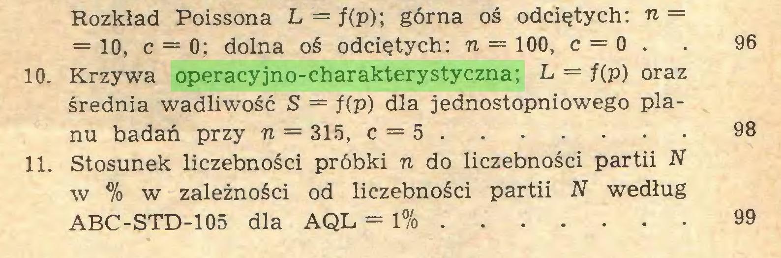 (...) Rozkład Poissona L — f(p); górna oś odciętych: n = ==10, c = 0; dolna oś odciętych: n = 100, c = 0 . . 96 10. Krzywa operacyjno-charakterystyczna; L = f(p) oraz średnia wadliwość S = f(p) dla jednostopniowego planu badań przy n = 315, c = 5 98 11. Stosunek liczebności próbki n do liczebności partii N w % w zależności od liczebności partii N według ABC-STD-105 dla AQL = 1% 99...