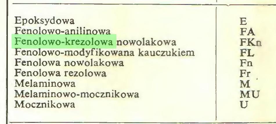 (...) Epoksydowa E Fenolowo-anilinowa FA Fenolowo-krezolowa nowolakowa FKn Fenolowo-modyfikowana kauczukiem FL Fenolowa nowolakowa Fn Fenolowa rezolowa Fr Melaminowa M Melaminowo-mocznikowa MU Mocznikowa U...