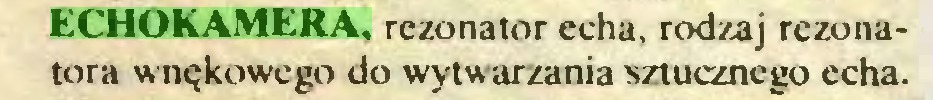 (...) ECHOKAMERA. rezonator echa, rodzaj rezonatora wnękowego do wytwarzania sztucznego echa...
