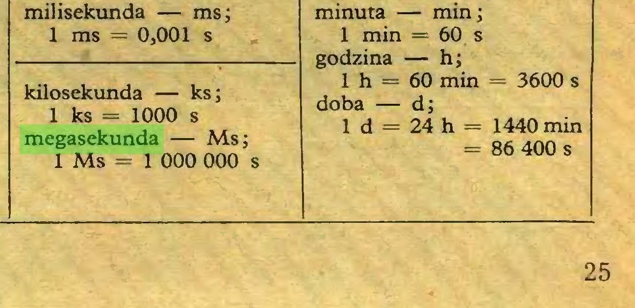 (...) kilosekunda — ks; 1 ks = 1000 s megasekunda — Ms; lMs=l 000 000 s minuta — mm; 1 min = 60 s godzina — h; 1 h = 60 min = 3600 s doba — d; 1 d = 24 h = 1440 min = 86 400 s 25...