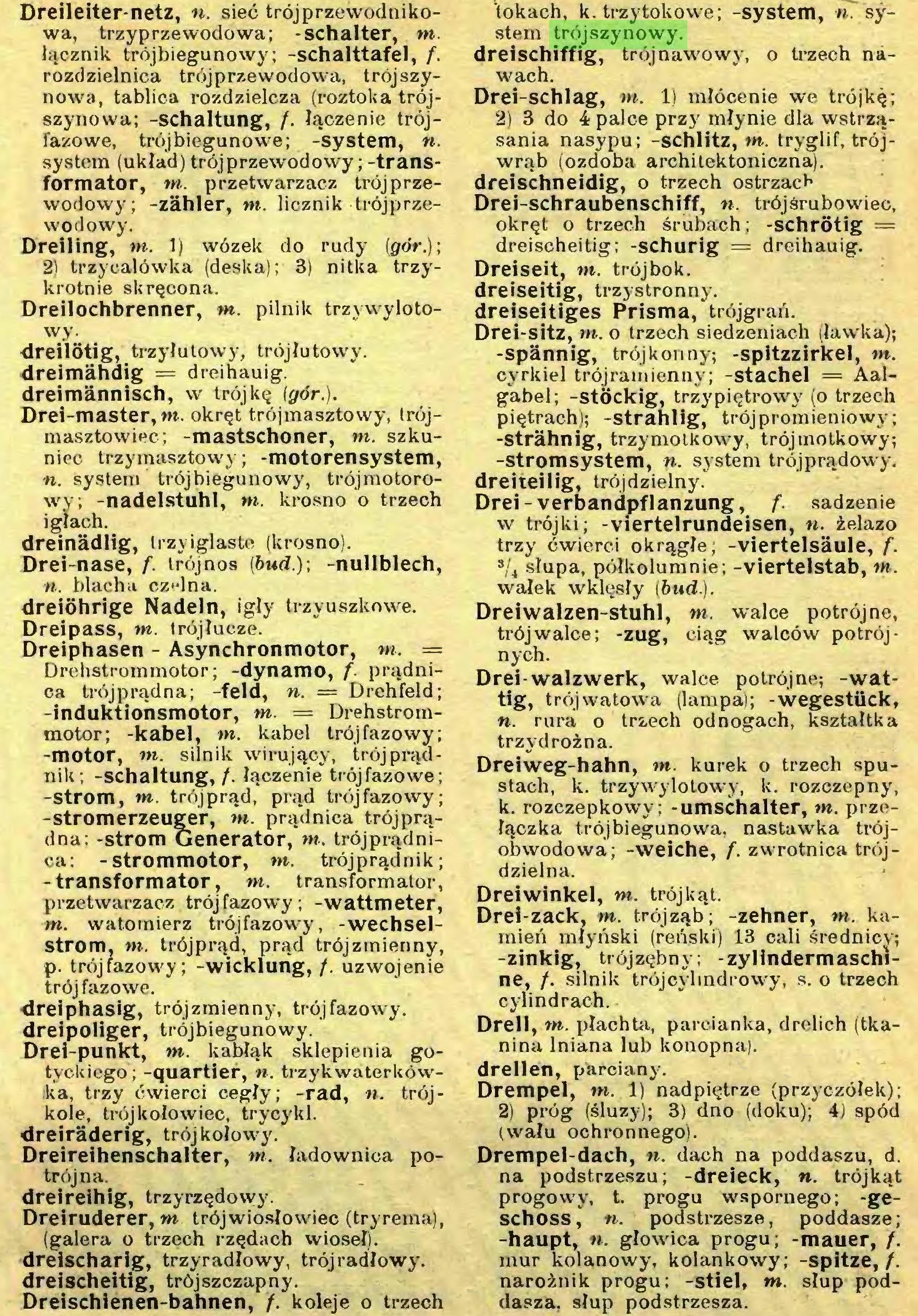 (...) Dreischienen-bahnen, f. koleje o trzech 'tokach, k. trzytokowe; -system, n. system trójszynowy...