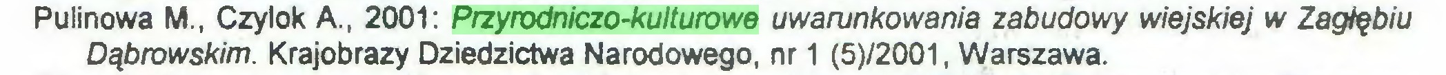(...) Pulinowa M., Czylok A., 2001: Przyrodniczo-kulturowe uwarunkowania zabudowy wiejskiej w Zagłębiu Dąbrowskim. Krajobrazy Dziedzictwa Narodowego, nr 1 (5)/2001, Warszawa...