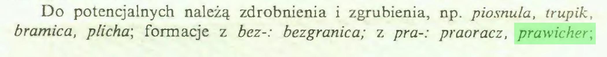 (...) Do potencjalnych należą zdrobnienia i zgrubienia, np. piosnula, trupik, bramica, plicha\ formacje z bez-: bezgranica; z pra-: praoracz, prawicher,...