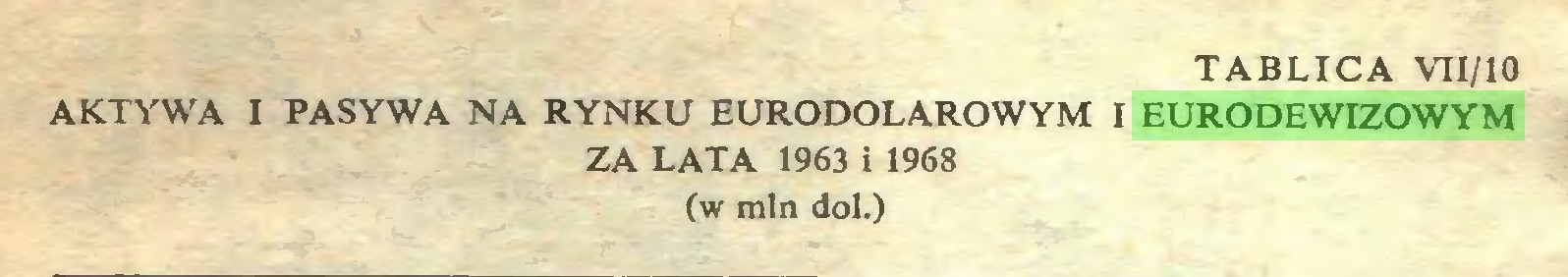 (...) tablica vii/io AKTYWA I PASYWA NA RYNKU EURODOLAROWYM I EURODEWIZOWYM ZA LATA 1963 i 1968 (w min doi.)...