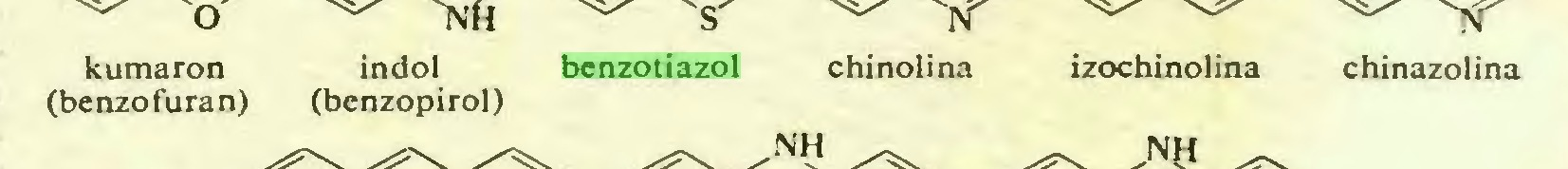 (...) kumaron indol benzotiazol chinolina izochinolina chinazolina (benzofuran) (benzopirol)...