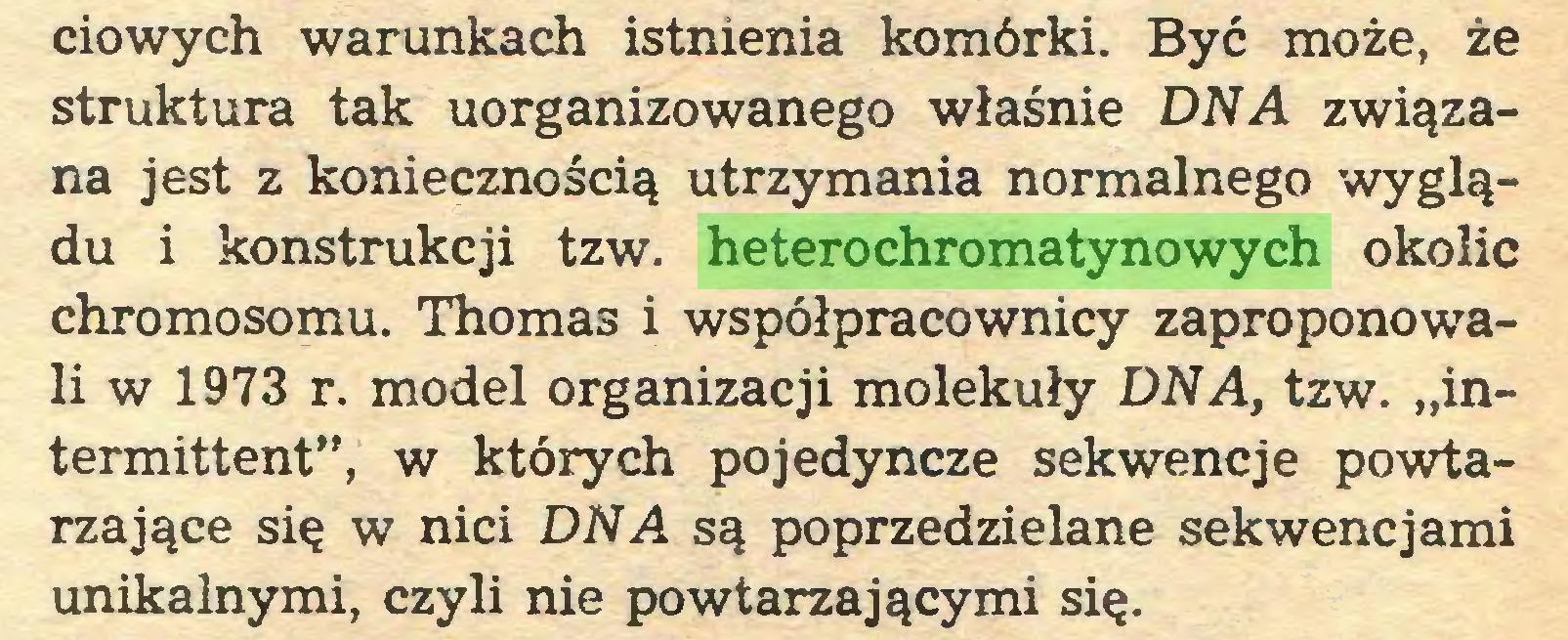 """(...) ciowych warunkach istnienia komórki. Być może, że struktura tak uorganizowanego właśnie DNA związana jest z koniecznością utrzymania normalnego wyglądu i konstrukcji tzw. heterochromatynowych okolic chromosomu. Thomas i współpracownicy zaproponowali w 1973 r. model organizacji molekuły DNA, tzw. """"intermittent"""", w których pojedyncze sekwencje powtarzające się w nici DNA są poprzedzielane sekwencjami unikalnymi, czyli nie powtarzającymi się..."""