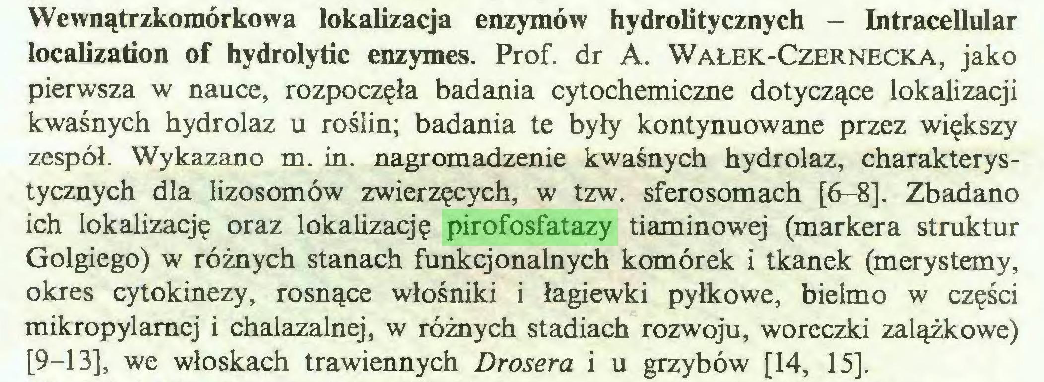 (...) Wewnątrzkomórkowa lokalizacja enzymów hydrolitycznych - Intracellular localizadon of hydrolydc enzymes. Prof. dr A. Wałek-Czernecka, jako pierwsza w nauce, rozpoczęła badania cytochemiczne dotyczące lokalizacji kwaśnych hydrolaz u roślin; badania te były kontynuowane przez większy zespół. Wykazano m. in. nagromadzenie kwaśnych hydrolaz, charakterystycznych dla lizosomów zwierzęcych, w tzw. sferosomach [6-8]. Zbadano ich lokalizację oraz lokalizację pirofosfatazy tiaminowej (markera struktur Golgiego) w różnych stanach funkcjonalnych komórek i tkanek (merystemy, okres cytokinezy, rosnące włośniki i łagiewki pyłkowe, bielmo w części mikropylamej i chalazalnej, w różnych stadiach rozwoju, woreczki zalążkowe) [9-13], we włoskach trawiennych Drosera i u grzybów [14, 15]...